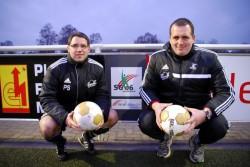 Für die SG Coesfeld 06 immer am Ball! Patrick Steinberg (links) und Christoph Klaas sind nun Inhaber der Trainer C-Lizenz Leistungsfußball.